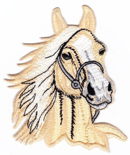 Beige Horse Head Riding Farm Sew-on Iron-on Patches Kids Children Baby Embroidered Applique
