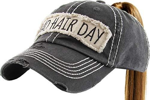 PONY-100 BLK Bad Hair Day Ponytail Messy High Bun Adjustable Cotton Baseball Cap ()