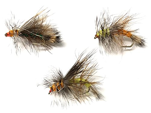 Feeder Creek Fly Fishing Assortment Stimulator Dry Flies for Trout and Other Freshwater Fish - 27 Hand Tied Bugs in Sizes 12,14,16 (3 of Each Size) Yellow, Orange, and Green Variety Set (Stimulator Dry Fly)