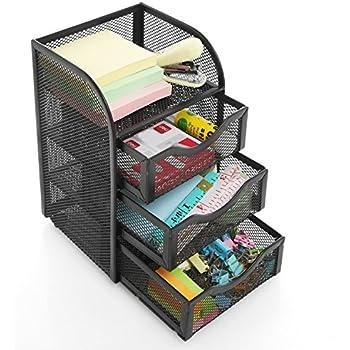 Black Metal Wire Mesh 3 Slide-Out Drawers & 1 Top Shelf Desktop Office Supply Storage Organizer Rack