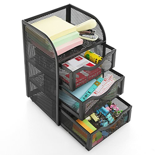 Black Metal Wire Mesh 3 Slide-Out Drawers & 1 Top Shelf Desktop Office Supply Storage Organizer Rack - 3 Drawer Shelf