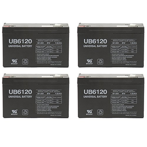 6V 12 AH F2 UB6120F2 UPS Battery Replaces CSB GP6120F2, GP 6120 F2 - 4 Pack by Universal Power Group