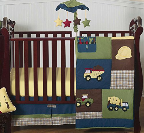 Construction Zone Blue Baby Boy Truck Bedding 4 Piece Crib Set Without Bumper