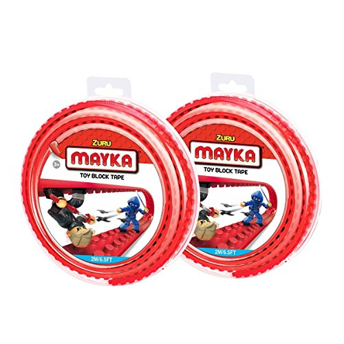 Mayka Toy Block Tape - 2 Stud - Red - 6 Feet - 2 Pack (Compatible with Lego)