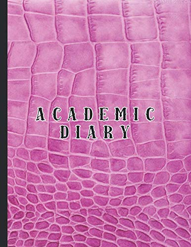 Academic diary: Large page per day academic organizer planner for all your educational organisation - Pink mock croc leather effect cover - Desktop Croc