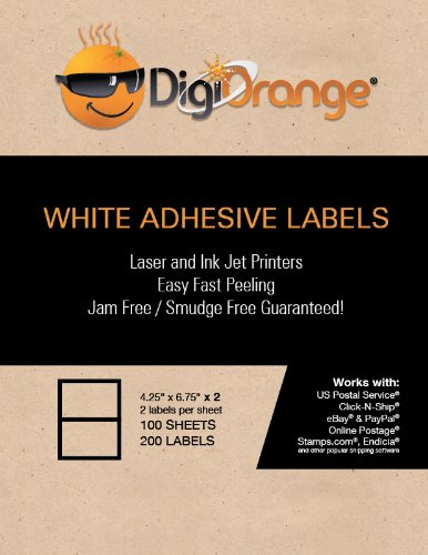 """DigiOrange® 200 Rounded Corners Premium Self Adhesive White Blank Half Page Shipping Labels 4.25"""" x 6.75"""" for Laser Inkjet Printer same size as Stamps.com SDC-1200 2 per sheet 5-1/2"""" x 8-1/2"""""""