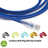 Ethernet Cable Snagless Cat6 Cord 10 Feet - 2 Pack 100% Performance Test Premium High Speed 550Mhz Cat 6 24 Awg RJ45 LAN Gigabit Network Patch Cables in Blue for Internet and Networking Connection