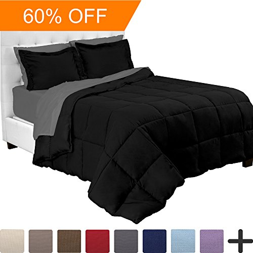 Twin Size Bed In A Bag (5-Piece Bed-In-A-Bag - Twin (Comforter Set: Black, Sheet Set: Grey))