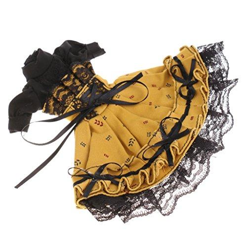Bjd Dress - MonkeyJack 60cm BJD Clothing Turtleneck Puff Sleeve Beam Waist Prom Lace Dress Frock Skirt Hair Band for 1/6 BJD SD BB Girl Dollfie Dolls