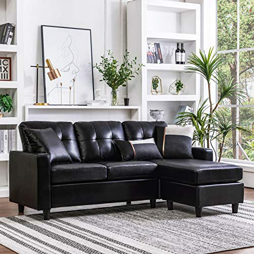 HONBAY Convertible Sectional Sofa Couch Leather L-Shape Couch with Modern Faux Leather Sectional for Small Space Apartment Black (Sofa Small For Small Sectional Spaces)