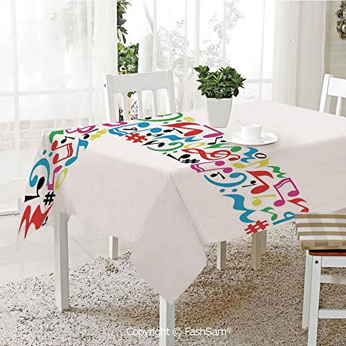 3D Print Table Cloths Cover Uppercase T Letter Colorful Sheet Music Elements Font Alphabet Design Art Style Decorative Table Protectors for Family Dinners (W55 -