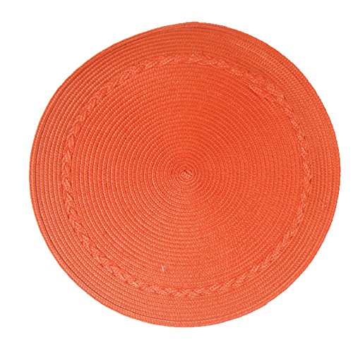 (Kay Dee Designs A8890S Easy Living, Wipe Clean, Round Placemats, Set of 4, Orange )