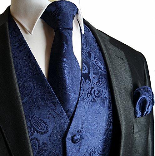 Brand Q Navy Blue Paisley Tuxedo Vest Necktie Handkerchief L Set