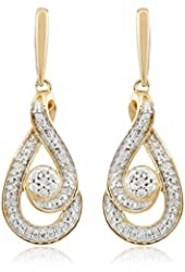 Gold Plating over Sterling Silver Diamond Dangling Earrings