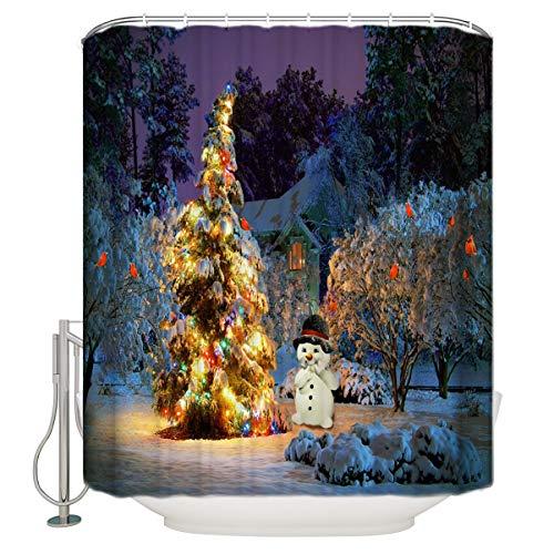 (T&H Home Fabric Winter Bathroom Shower Curtains Xmas Merry Christmas Eve Light Snowman Country Decor, Christmas Shower Curtain Set with Hooks, 36X72IN)