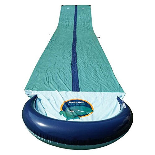 Team Magnus Kids Slip and Slide XXL with Dual Racer Lanes, Water-Spraying Channel and Inflatable Splash Pool (31ft long Water Slide)