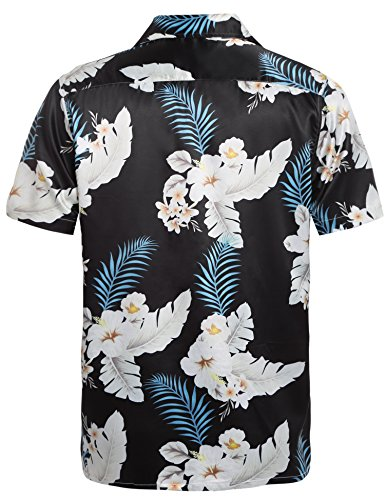 Hawaïenne Vacance Satin Hotouch Imprimé Noir Courte Eté Manche Fleur Casual Chemise Homme qtaXw7aR