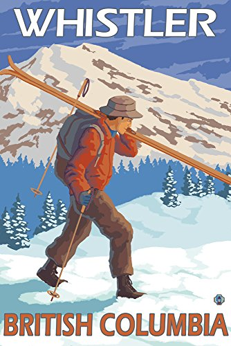 Skier Carrying Snow Skis - Whistler, BC Canada (12x18 Art Print, Wall (Anderson Art Print)