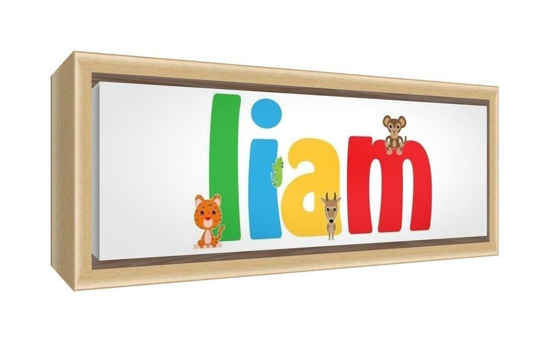 Feel Good Art Framed Box Canvas with Solid Natural Wooden Surround in Cute Illustrative Design Boy's Name (19 x 46 x 3 cm, Small, Liam) LHV-LIAM1542-FCNAT-15