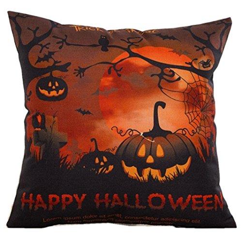 HongXander Happy Halloween Throw Pillow Bat Pumpkin Pillow Cases Linen Cotton Sofa Cushion Cover Home Decor (Cowl In Pumpkin)