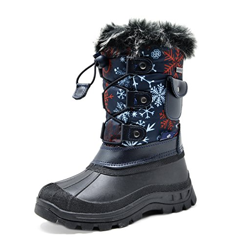 DREAM PAIRS Little Kid Ksnow Navy Red Isulated Waterproof Snow Boots - 2 M US Little Kid