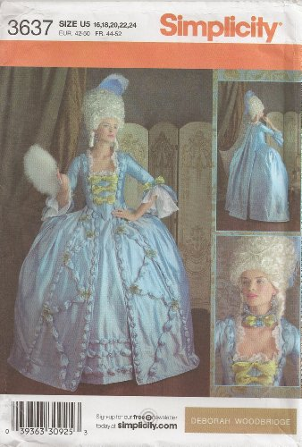OOP Simplicity 18th Century Costume Pattern 3637. Misses Szs 16;18;20;22;24 Gown. Deboah Woodbridge (Marie Antoinette Halloween Costume Pattern)