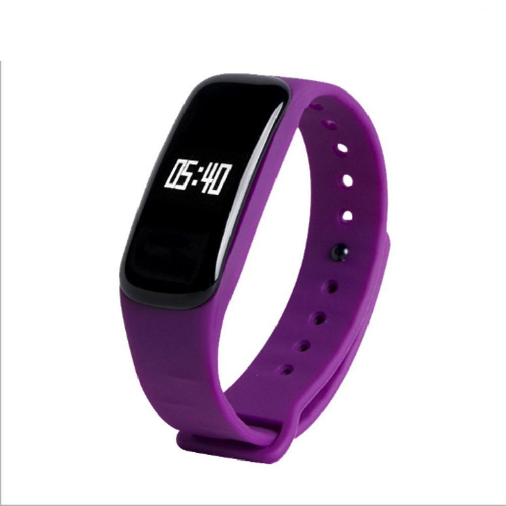 Brazalete elegante deportivo pedometer Fitness Tracker sueño monitor pulsera Bluetooth 4.0 IP67 Smartband para iOS Android , purple