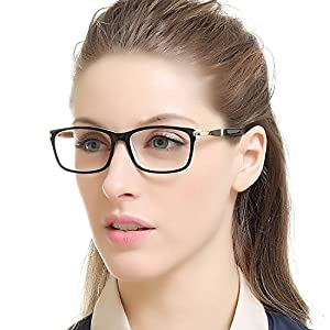 OCCI CHIARI Unisex Rectangle Vintage Eyewear Frame with Clear Lenses(Black/red, 55)