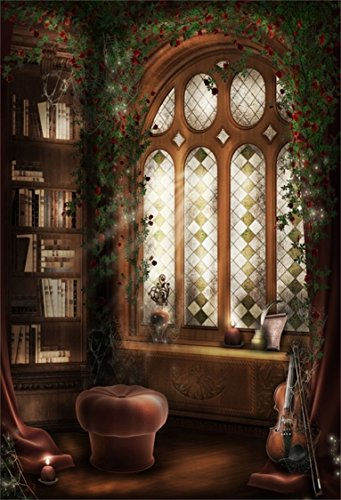 AOFOTO 3x5ft Vintage Interior Bookshelf Photography Background Retro Window Backdrop Bookcase Vines Flowers Magic Forest Room Adult Kid Artistic Portrait Photoshoot Studio Props Video Drape Wallpaper ()