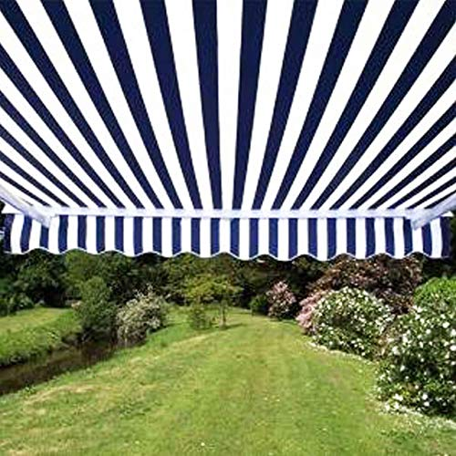 ALEKO AW13X10BWSTR03 Retractable Patio Awning 13 x 10 Feet Blue and White Striped (Patio Back Awnings)