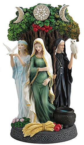 Resin Statues Danu Irish Triple Goddess Of The Tuatha De Danann Statue 6 X 10.5 X 5 Inches - Moon Goddess Art