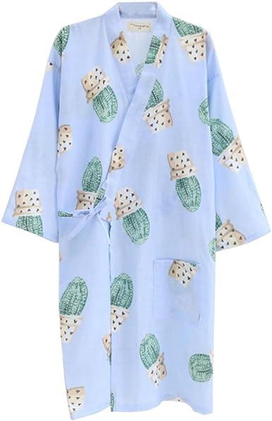 Vestido Camisero de algodón japonés para Mujer Kimono Pijama camisón-Cactus A: Amazon.es: Ropa y accesorios