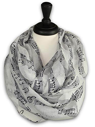 KnitPopShop Music Note Infinity Loop Scarf for Women in the Summer (White) ()