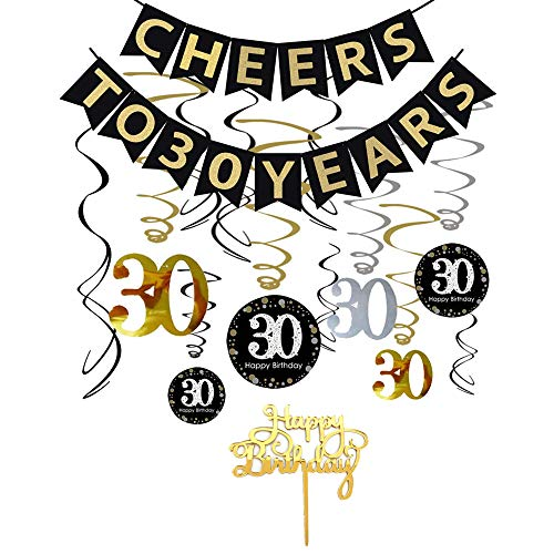 30th Birthday Decorations Kit- Cheers to 30 Years Banner, Sparkling Celebration 30 Hanging Swirls, Mirror Gold Cake Topper - Perfect 30 Years Old Party Supplies 30th Anniversary Decorations