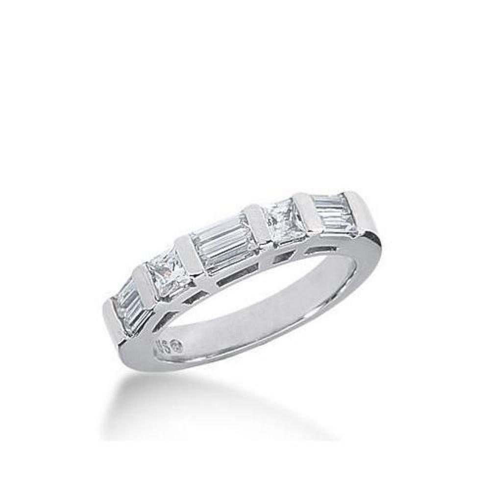 14k Gold Diamond Anniversary Wedding Ring 2 Princess Cut Stones, 6 Straight Baguette Diamonds Total 0.88ctw 604WR235814k - Size 7.5