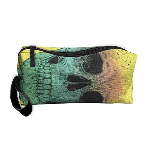 Pop Art Skull Makeup Cosmetics Pouch Travel Hanging Organizer Kit Bag