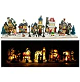 Village de Noël lumineux à 10 LED - 43x10x9cm