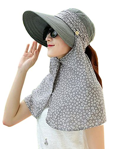 Lujuny Wide Brim Sun Hat Small Floral Neck Cover 2in1 UV Protection Foldable Visor for Women - Shopping Hagerstown