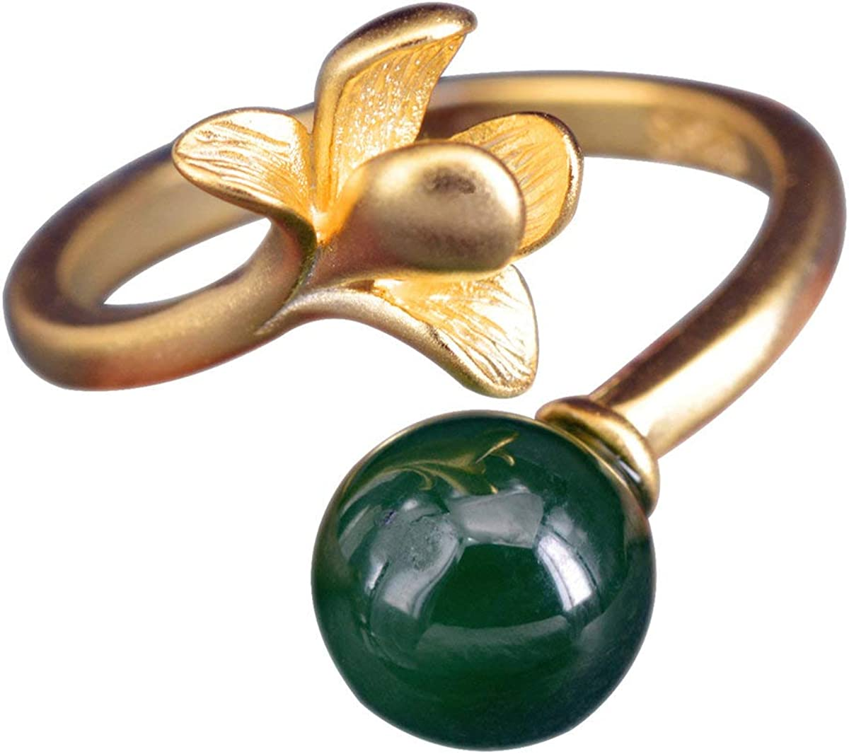 NicoWerk SRI388 - Anillo de plata de ley 925 para mujer, diseño de bola verde con piedra preciosa, color dorado mate