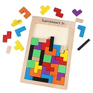 SainSmart Jr. Wooden Tetris Puzzle 40 Pcs Brain Teasers Toy for Kids, Wood Puzzle Box Brain Games Wood Burr Tangram Jigsaw Toy Children Days