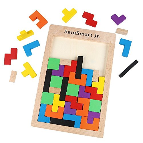 SainSmart Jr. Wooden Tetris Puzzle 40 Pcs Brain Teasers Toy for Kids, Wood Puzzle Box Brain Games Wood Burr Tangram Jigsaw Toy Children Days - Box Puzzles Toys