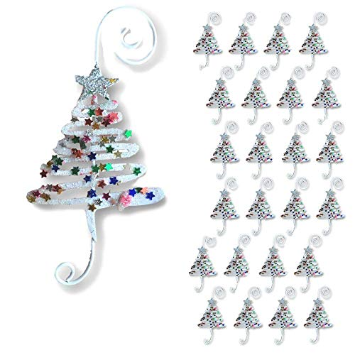 BANBERRY DESIGNS Christmas Ornament Hooks - Set of 24 Whimsical Christmas Tree Ornament Hangers - Adorned with Fun Confetti Like Glitter - Christmas Ornament Display