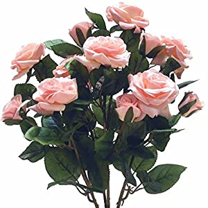Beautiful and Life Like Artificial Assorted Rose Bouquet Perfect for Centerpieces 115