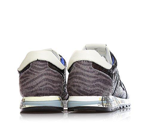 PREMIATA - Schwarze Sneakers aus Leder, Fohlenleder mit Zebrastreifen, bedruckte Zwischensohle, Mädchen