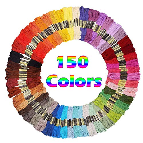SIFANG Rainbow Color Embroidery Floss 150 Skeins,Premium Multi-Color Cross Stitch Threads, Friendship Bracelet Floss String, Crafts Floss (150 ()