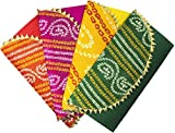 Desi Favors Shagun Brocade Money Envelopes for Weddings/Christmas/Diwali - Pack of 4 Envelopes (Red, Pink, Yellow, and Green, Decorated)