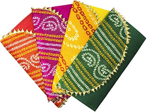 Desi Favors Shagun Brocade Money Envelopes for Weddings/Christmas/Diwali - Pack of 4 Envelopes (Red, Pink, Yellow, and Green, Decorated) (Best Indian Wedding Cards)