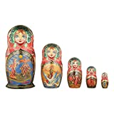 danila-souvenirs Russian Wooden Nesting Dolls Hand Painted Matryoshka 5 pcs Set Fairy Tale 6''