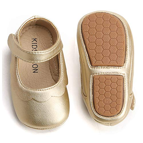 - Bear Mall Baby Girl Shoes Soft Sole Toddler Ballet Flats Baby Walking Shoes(14 cm(2Y-2.5Y), Golden)