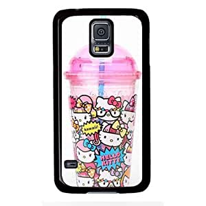 Samsung S5 case,popular Leather Samsung S5 Case for Samsung S5 with Hello Kitty Plastic Cup with Straw
